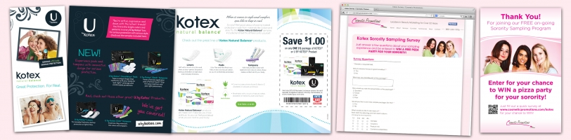 Kotex Sampling Program Brochure, Web Survey & Thank You