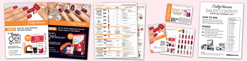 Sally Hansen Easel Cards, Product Guide, Coupon, Brochure & Beauty Advisor Sales Contest